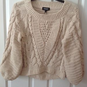 NWT Express chunky Cable Knit Sweater in Cream; S